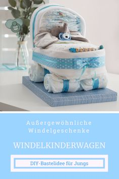 Fancy gift for childbirth. DIY baby boy present.- Fancy gift for childbirth. DIY baby boy present. A practical, pretty diaper gift. Make diaper stroller yourself - Baby Boys, Baby Boy Gifts, Baby Shower Gifts, Presents For Boys, Diy Gifts For Kids, Diaper Stroller, Diy Bebe, Birth Gift, Fancy