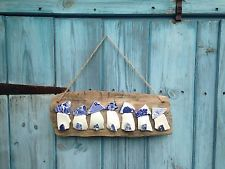 Handmade Nautical Hanging Driftwood Sea Pottery Beach Hut Picture Sign ��
