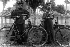 vintage women dressed for bicycling.
