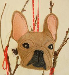 Nuri the French Bulldog Wool Felt Applique Decorative by Cuore, $14.00