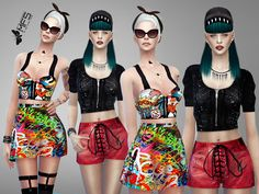 This pop collection includes graffiti prints and sporty details. Standalone items, custom thumbnails. Found in TSR Category 'Sims 4 Female Clothing Sets'