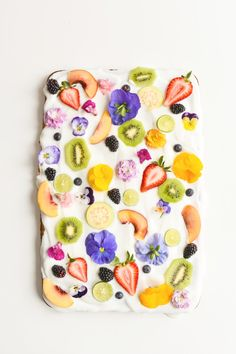Kara's Party Ideas Yogurt Sheet Cake Recipe with Fruit & Edible Flowers | Kara's Party Ideas
