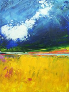 Abstract Landscape 'Rolling Down'  acrylic by SallyKellyPaintings, $60.00