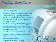 Did you know that cancer cells have an altered metabolism and are no longer dependent upon oxygen? In fact, high oxygenated environments are toxic to cancer cells. Click through to read on as Dr. David Jockers talks about the healing benefits of Hyperbaric Oxygen Therapy! Please re-pin to help us educate others! Together we'll empower the world with life-saving knowledge! // The Truth About Cancer <3