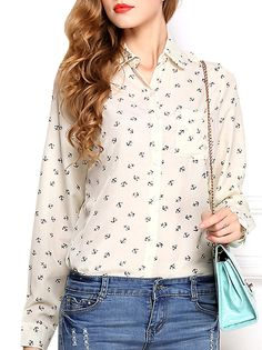 Women's OL Style Casual Plus Size Anchor Printed Tops Two Colors on buytrends.com