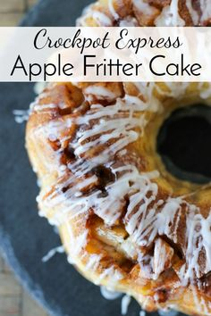 Chunks of tart apples, a sweet glaze and a brown sugar crackle on top make this Crockpot Express Apple Fritter Cake a delicious dessert that's ready in less than an hour (without heating up the kitchen!) #CPE #CrockpotExpress #PressureCooking #Dessert