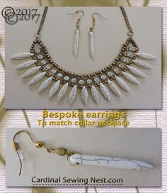 Bespoke acrylic long spike acrylics earrings to pair with a collar necklace