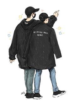 [#FANART] [25.04.17] [#CHANBAEK]  Fanart inspirada no passeio de ChanBaek pelas ruas de Nova Iorque, Estados Unidos. ❣  [~Moonanie] [Cr.: babariaba] Chanbaek Fanart, Baekhyun Fanart, Exo Chanbaek, Kpop Fanart, Park Chanyeol, Kyungsoo, Exo Kai, Jikook, Chibi