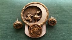Vintage Whimsical Antique Buttons Brooch/Pendant by TreasureWares