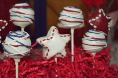 Patriotic (4th of July) red white and blue and stars cake pops