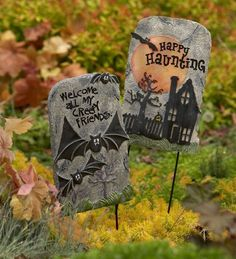"Decorative Halloween Tombstone with Ground Stake by HearthSong®. $19.99. Turn your yard into an eerie graveyard!. Size: 14 inches x 8-3/4 inches. Made of weather-resistant resin. Sticks easily into the ground. Includes 15 inch stake. Turn your front yard or garden into an eerie graveyard with these decorative tombstones. Made of weather-resistant resin, they stick easily into the ground with their included stakes. Size: 14""L x 8-3/4""W, includes 15"" stakes. Available ..."