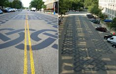 "Celtic Knot: Washington D.C. ""The project is a complex celtic knot painted onto the road itself. the design was installed to honour soldiers recently killed while serving in the armed forces."""
