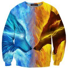 Wolf Ice & Fire Sweatshirt – Urban Art Clothing