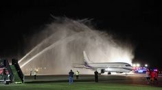 WOW...A Chicago Fire Department water cannon salute sprays the chartered plane carrying the Blackhawks to O'Hare International Airport.