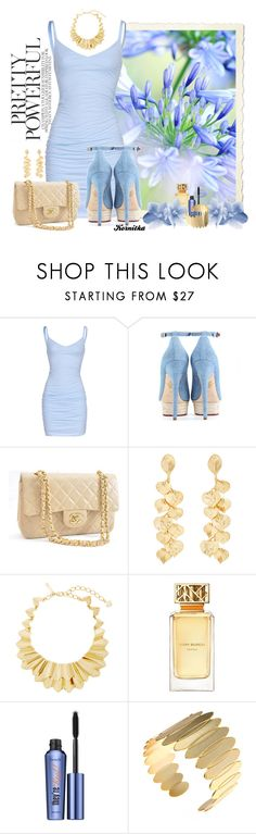 """""""nr 1618 / Pretty Powerful"""" by kornitka ❤ liked on Polyvore featuring Velvet by Graham & Spencer, Charlotte Olympia, Chanel, Kenneth Jay Lane, Oscar de la Renta, Tory Burch, Benefit and bluedress"""