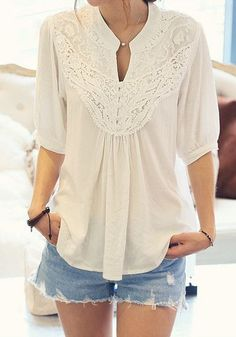 Lace Splicing Crochet Flower half Sleeve Casual Blouse
