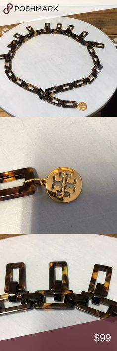 """Tory Burch belt 33"""" Tory Burch lightweight tortoise and black chain belt; attach at any smaller waist size. Excellent condition. Item 3799-3 IS Tory Burch Accessories Belts"""