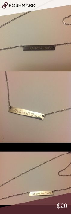 New In Love We Trust Silver Bar Necklace Thin bar. Stainless steel chain. Silver color Jewelry Necklaces