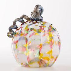 Autumn Glass Pumpkin- Confetti - The Museum Shop of The Art Institute of Chicago Broken Glass Art, Sea Glass Art, Stained Glass Art, Glass Vase, Glass Pumpkins, Fall Pumpkins, Glass Art Design, Pumpkin Art, Thanksgiving