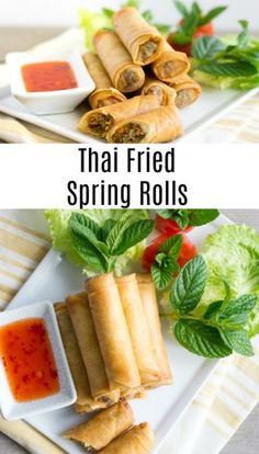 Crispy, crunchy, and so much flavor in Thai Fried Spring Rolls. They pair perfect with a Thai sweet chili dipping sauce. Make them for your next Party or Potluck! Thai Appetizer, Appetizer Dishes, Appetizer Recipes, Italian Appetizers, Vietnamese Egg Rolls, Vietnamese Spring Rolls, Thai Spring Rolls, Chicken Spring Rolls, Cooking Chinese Food