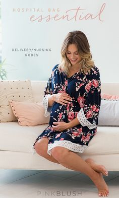 packing your hospital bag? Don't forget this essential! Maternity deliver/nursing robes with breathable, comfortable style in a gorgeous print