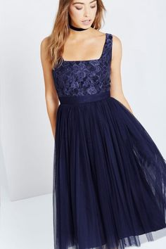 Little Mistress Navy Lace and Mesh Midi Dress - Little Mistress from Little Mistress UK