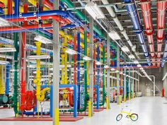 Inside one of our data centres. These colorful pipes send and receive water for cooling our facility. Take an online tour inside one of our data centres.