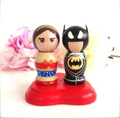 Kokeshi SUPERHERO Wedding Cake Topper Kokeshi Doll Wood Peg Doll Hero Collectable Bridal Shower Gift Comic Books Character