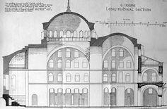 Sezione della Chiesa di Santa Irene a Costantinopoli. Tale edificio fu eretto nel VI secolo d.C da Costantino ed è unchiaro esempio di architettura bizantina.