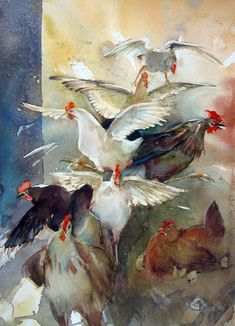 Françoise-Marie Klein.  Watercolor. I love the life and movement in this watercolour.