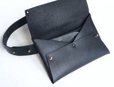 Black Leather Bags, Leather Purses, Leather Handbags, Leather Wallet, Leather Bag Tutorial, Leather Bag Pattern, Hip Purse, Hip Bag, Leather Bags Handmade