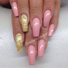 Pink + Gold Long Square Tip Nails. I love long nails cause they look elegant <3 #nail #nailart