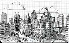 city in 2 point perspective | From: http://farm4.static.flickr.com/3540/3321940284_05b71589b4.jpg