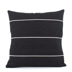 If your home fashion style is classic, streamlined or anywhere in between, this fabulously chic throw pillow will slip right in with your decor. We love the beautifully textured look and feel of this cotton pillow that resembles the rich details of a flat-woven rug. Black weave with horizontal honeycomb stripes backs to cream diagonal lines on the reverse for a truly classic style!  1 PILLOW COVER • Choose a size • 100% heavy textured cotton/linen • Flips to woven diagonal cream stripes on…