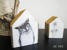 Transfert d'images sur support bois + petites maisons