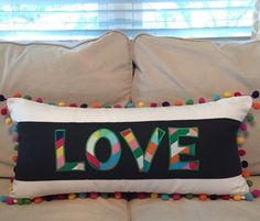 Appliqued Love Pom Pom Pillow by peppermintbee on Etsy