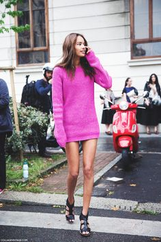 dress or jumper? who cares she looks amazing. #MalaikaFirth #offduty in Milan.