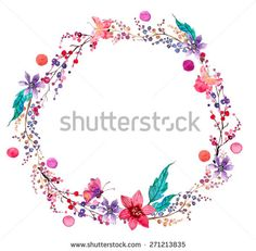 Watercolor flower wreath background for beautiful design, Vector - stock vector