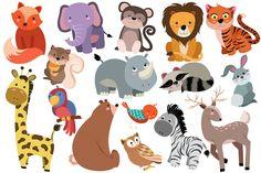 Cute Baby Animals Vector & PNG Pack - Illustrations