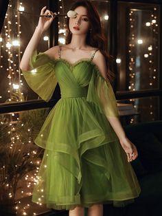 V Dress, Tulle Prom Dress, Party Dress, Green Homecoming Dresses, Prom Dresses, Formal Dresses, Short Dresses, Girls Dresses, Custom Dresses