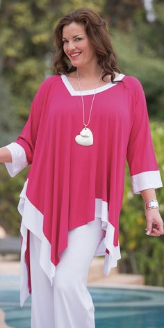 Kasbah raspberry/white jersey two tone top