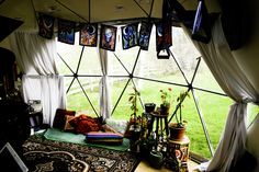 This is the bay window of the 20' living / recording studio dome.
