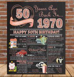 50th Birthday Chalkboard 1970 ROSE GOLD Birthday Poster Sign | Etsy