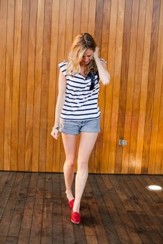 Stripes on stripes, sequins, and Toms