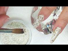 Uñas acrílicas difuminadas negro y plata con técnica de navaja + Swarovski - YouTube
