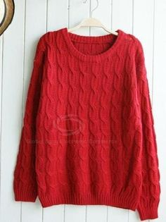 Simple Design Round Neck Elbow Patch Cable Knit Sweater For Women (APRICOT,ONE SIZE) China Wholesale - Sammydress.com