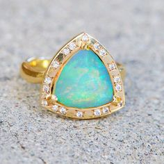 Wilderness Trillion Rose Cut Blue Opal Ring with Diamonds