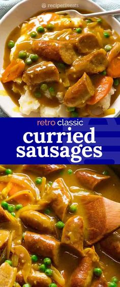 The ultimate retro sausage recipe – Curried Sausages! Browned sausages in a curry flavoured sausage gravy with carrots and peas, it's totally 80's, totally kitsch, and we totally love it.