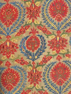 Ottoman cover fragment, linen with silk embroidery, 17th century