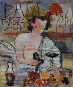 Bacchino .Tecnica: mista, olio, pastelli, collage.Anno : 2011 Autore : Lino Lanaro.